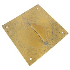 17th or 18th Century Bronze Engraved Sundial Compass