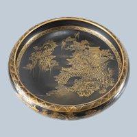 Antique Japanese Meiji Black and Gold Satsuma Bowl