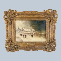 19th Century Impressionist Oil Painting in Gold Frame Auguste Van Hier