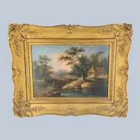 18th Century Oil on Canvas Landscape Painting in Gold Frame
