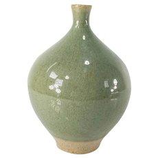 Japanese Celadon Green Art Pottery Ikebana Vase