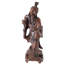 Chinese Carved Rosewood Wood Immortal Luohan Arhat Figure