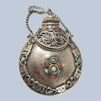 Chinese Tibetan Silver Filigree Turquoise and Carnelian Snuff Bottle