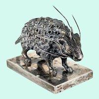 Silver Porcupine Form Toothpick Holder