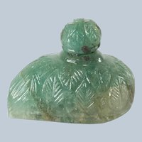 Persian or Indian Mughal Carved Emerald Leaf Form Snuff Perfume Scent