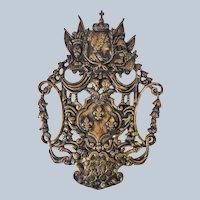 French Bronze Decorative Plaque with Fleur De Lis