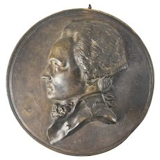 1835 French Bronze Plaque of Maximilien Robespierre by David D'Angiers