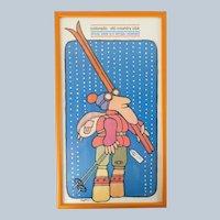 Vintage 1970s Pastel Ski Colorado Travel Poster by Hoffman