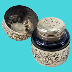 Sterling Silver and Glass Floral Inkwell By Durgin