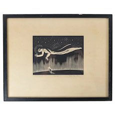 """Rockwell Kent """"God-Speed"""" Wood Print Engraving Pencil Signed"""