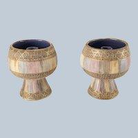 Pair of Mid Century Italian Art Pottery Candle Holders Aldo Londi for Bitossi