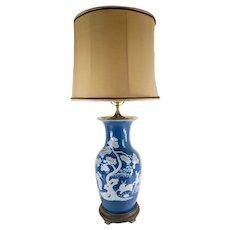 Chinese Powder Blue Pate-Sur-Pate Vase Table Lamp