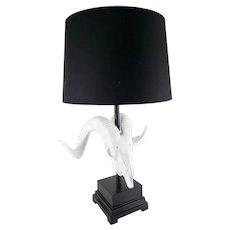 Contemporary Cast Plaster Ram Skull Table Lamp