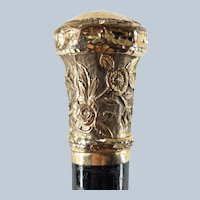 Aesthetic Period Gold Filled Floral Repousse Cane Walking Stick