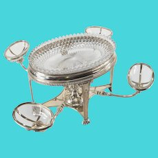English Sheffield Silver Plated Large Centerpiece Epergne