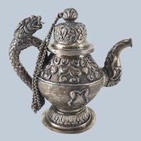 Chinese Sino-Tibetan Silver Buddhist Wine Ewer Pitcher