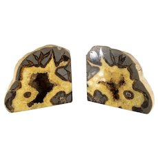 Septarian Nodule Crystal Stone Specimen Bookends