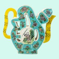 Chinese Famille Verte Puzzle Jug Teapot