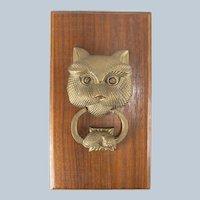 Vintage Cast Brass Cat Door Knocker