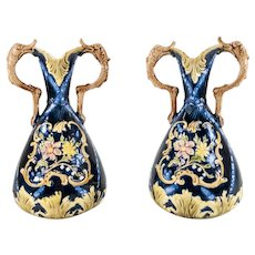 English Majolica Maiolica Aesthetic and Rococo Style Vases