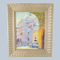 Italian Bright Pastel Palette Oil on Panel Painting Signed Illegibly