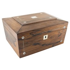 English Rosewood and Mother of Pearl Inlaid Tea Caddy or Jewelry Box