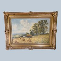 British Oil Painting on Canvas Harvesting Haystacks by Henry Cooper