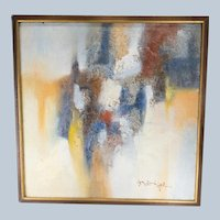 Mid Century Modern MCM Abstract Expressionist Painting Signed Illegibly