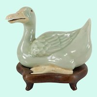 Chinese Celadon Porcelain Duck Model
