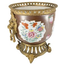 Bronze Mounted Chinese Porcelain Planter Jardiniere