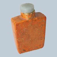Chinese Orange and Gilt Gold Snuff Bottle