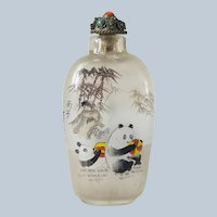Chinese Inside Reverse Painted Glass Snuff Bottle with Pandas