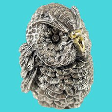 Vintage Italian Mid Century Sterling Silver Plated Owl
