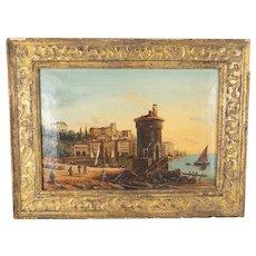 Italian Oil on Canvas Naples or Amalfi Coast Painting attr. Giacinto Gigante