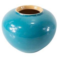 Chinese Turquoise Enameled Yixing Pottery Ginger Jar