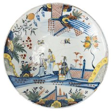 Important Dutch Delft Polychrome Chinoiserie Charger