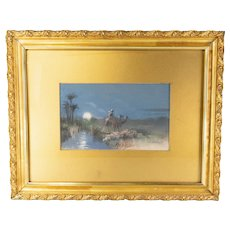 19th Century Orientalist Pastel Drawing Painting Gold Frame