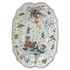 French Faience or Dutch Delft Polychrome Chinoiserie Platter