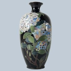 Japanese Cloisonne Vase with Hydrangea Flowers