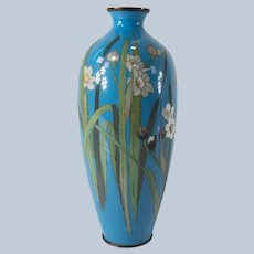 Japanese Cloisonne Vase with Iris or Lillies