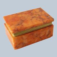 Vintage Mid Century Modern Orange Alabaster Trinket Box