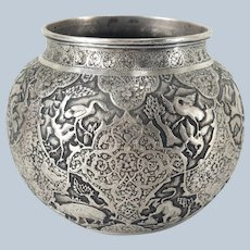 Persian Fine Repousse Silver Engraved Vase