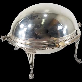 English Victorian Silverplate Roll Top Dome Food Warmer