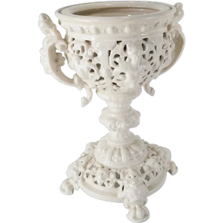 Vintage Italian White Pottery Plant Fern Stand