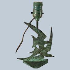 Verdigris Bronze Swallow Birds Table Lamp
