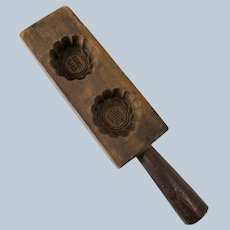Primitive Chinese Carved Wood Harvest Moon Cookie Mold