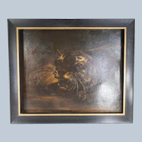 Victorian Oil on Canvas Painting of a Tiger