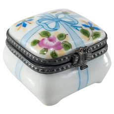 Vintage French Porcelain Hand Painted Rochard Limoges Pill Box