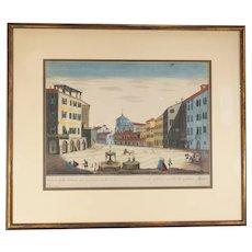 Italian Hand Colored Engraving Print Brescia by Remondini