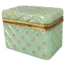 French Opaline Celadon Jadeite Green Glass Trinket Box